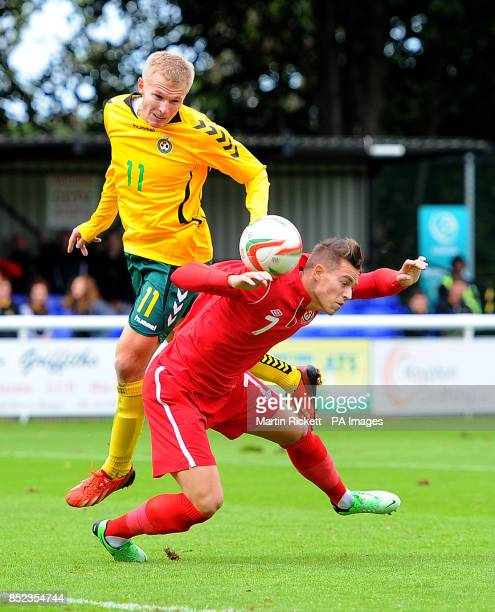 Wales U21 Billy Bodin is fouled by Lithuania U21 Ovidijus Verbickas for a penalty during the UEFA Euro Under 21 Qualifying Pool One match at the...