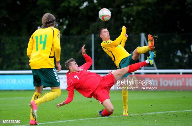 Wales U21's Billy Bodin battles for the ball with Lithuania U21's Rytis Pilotas during the UEFA Euro Under 21 Qualifying Pool One match at the...
