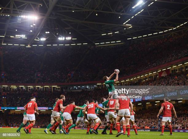 Wales United Kingdom 10 March 2017 Iain Henderson of Ireland takes possession in a lineout during RBS Six Nations Rugby Championship match between...