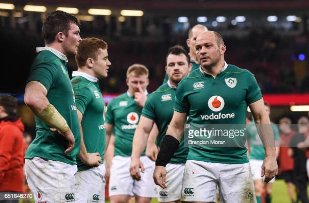 Wales United Kingdom 10 March 2017 Ireland captain Rory Best and his team react after the RBS Six Nations Rugby Championship match between Wales and...