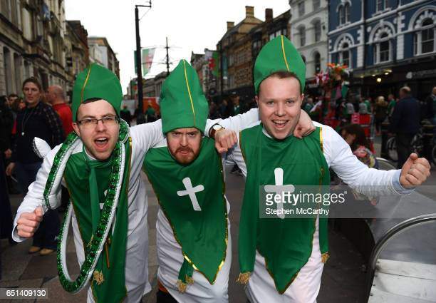 Wales United Kingdom 10 March 2017 Ireland supporters from left Niall Fahey from Greystones Wicklow Richard Cleary from Enniskerry Wicklow and Peter...