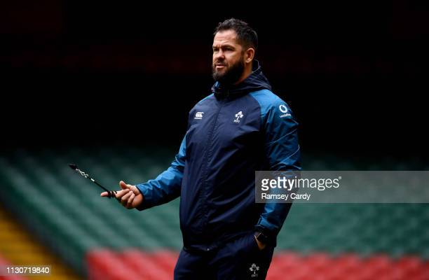 Wales United Kingdom 15 March 2019 Defence coach Andy Farrell during the Ireland rugby captain's run at the Principality Stadium in Cardiff Wales