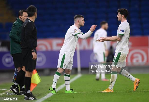 Wales , United Kingdom - 15 November 2020; Jack Byrne comes on as a second half substitute to replace his Republic of Ireland team-mate Robbie Brady...