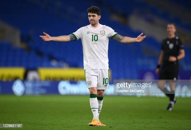 Wales , United Kingdom - 15 November 2020; Robbie Brady of Republic of Ireland reacts after a shot on goal during the UEFA Nations League B match...