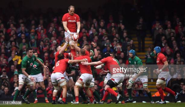 Wales United Kingdom 16 March 2019 Alun Wyn Jones of Wales wins possession in the lineout during the Guinness Six Nations Rugby Championship match...