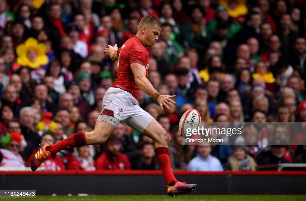 Wales United Kingdom 16 March 2019 Gareth Anscombe of Wales during the Guinness Six Nations Rugby Championship match between Wales and Ireland at the...