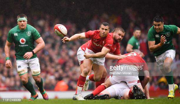 Wales United Kingdom 16 March 2019 Gareth Davies of Wales during the Guinness Six Nations Rugby Championship match between Wales and Ireland at the...