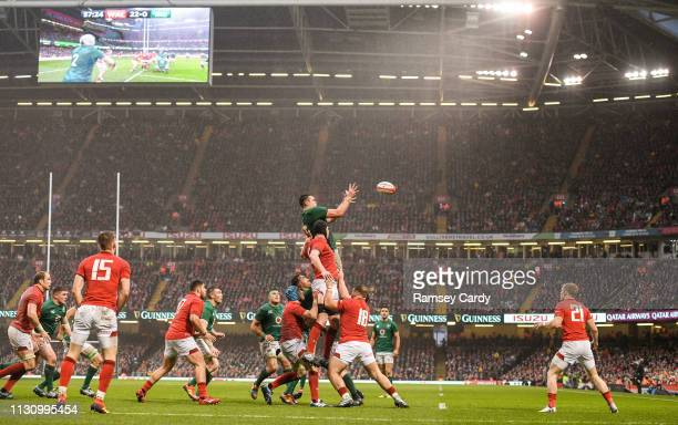 Wales United Kingdom 16 March 2019 James Ryan of Ireland wins possession in the lineout from Adam Beard of Wales during the Guinness Six Nations...