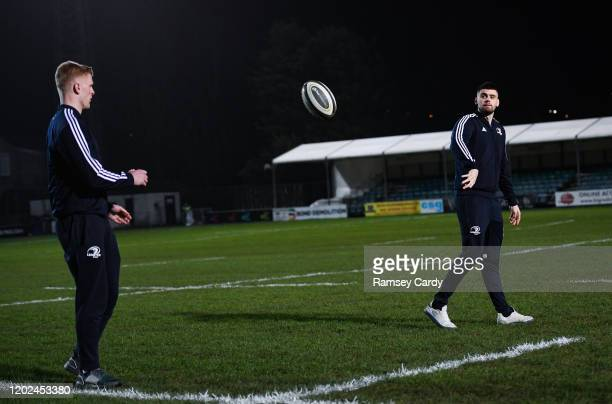 Wales United Kingdom 21 February 2020 Harry Byrne right and Tommy O'Brien of Leinster ahead of the Guinness PRO14 Round 12 match between Ospreys and...