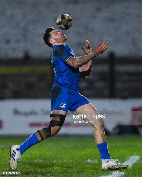 Wales United Kingdom 21 February 2020 Hugo Keenan of Leinster during the Guinness PRO14 Round 12 match between Ospreys and Leinster at The Gnoll in...