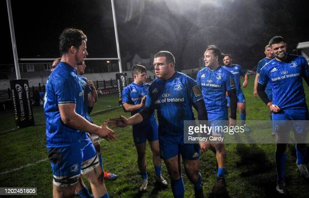 Wales United Kingdom 21 February 2020 Jack Dunne left and Seán Cronin of Leinster following the Guinness PRO14 Round 12 match between Ospreys and...