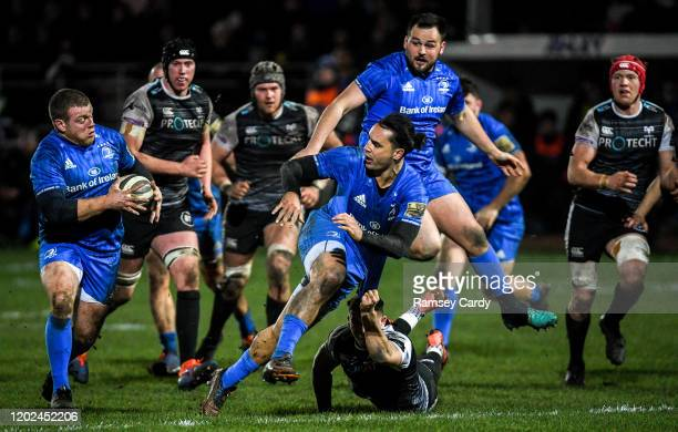 Wales United Kingdom 21 February 2020 James Lowe left and Seán Cronin of Leinster during the Guinness PRO14 Round 12 match between Ospreys and...