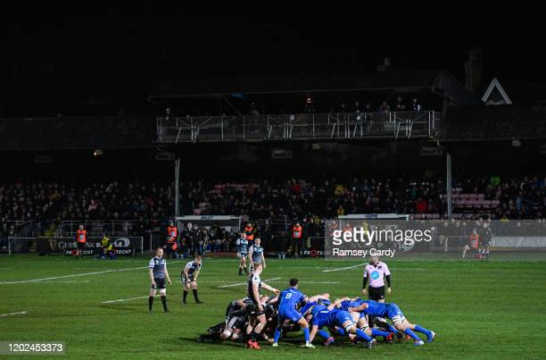 Wales United Kingdom 21 February 2020 Jamison GibsonPark of Leinster feeds the ball into the scrum during the Guinness PRO14 Round 12 match between...