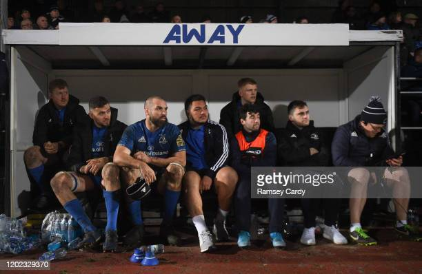Wales United Kingdom 21 February 2020 Leinster players watch on from the substitutes bench during the final moments of the Guinness PRO14 Round 12...