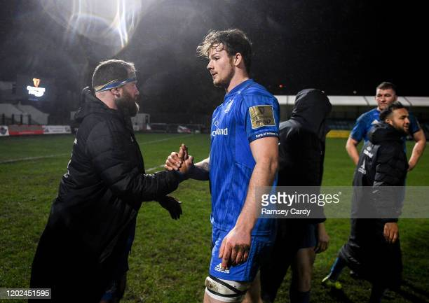 Wales United Kingdom 21 February 2020 Michael Bent left and Jack Dunne of Leinster following the Guinness PRO14 Round 12 match between Ospreys and...