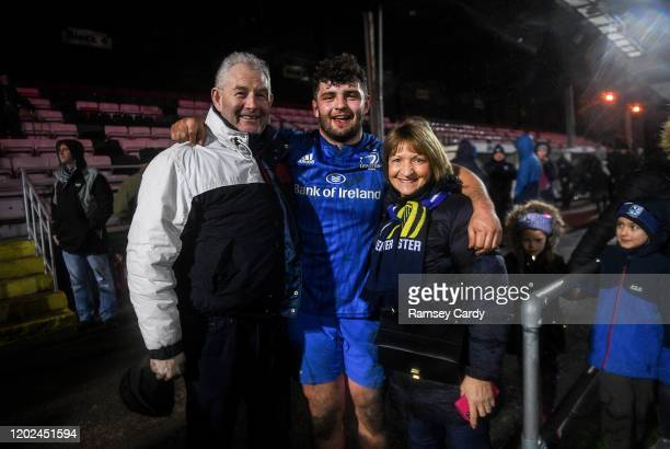 Wales United Kingdom 21 February 2020 Michael Milne of Leinster with his parents following the Guinness PRO14 Round 12 match between Ospreys and...