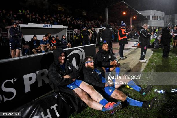 Wales United Kingdom 21 February 2020 Peter Dooley left Michael Bent centre and Jamison GibsonPark of Leinster watch on during the Guinness PRO14...