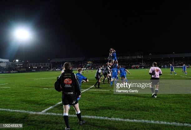 Wales United Kingdom 21 February 2020 Ross Molony of Leinster and Bradley Davies of Ospreys contest a line out during the Guinness PRO14 Round 12...