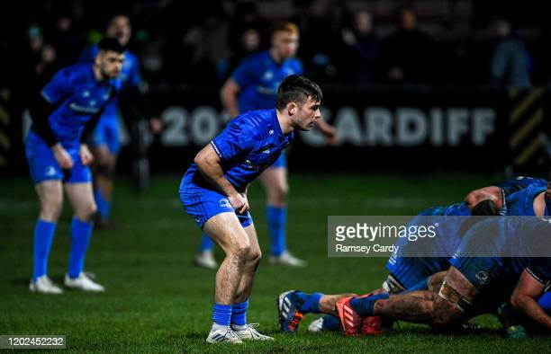 Wales United Kingdom 21 February 2020 Rowan Osborne of Leinster during the Guinness PRO14 Round 12 match between Ospreys and Leinster at The Gnoll in...