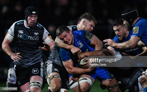 Wales United Kingdom 21 February 2020 Scott Penny of Leinster and Olly Cracknell of Ospreys during the Guinness PRO14 Round 12 match between Ospreys...