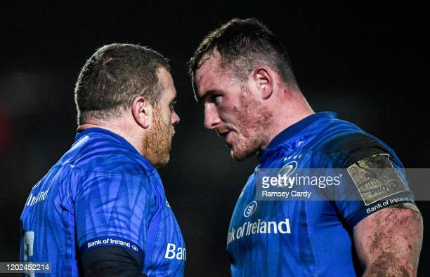 Wales United Kingdom 21 February 2020 Seán Cronin left and Peter Dooley of Leinster during the Guinness PRO14 Round 12 match between Ospreys and...