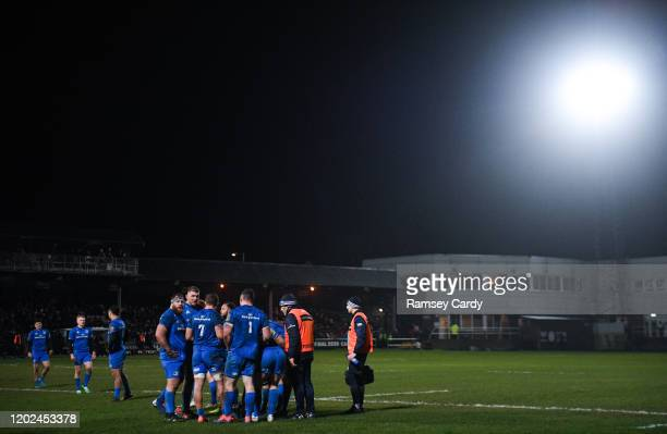 Wales United Kingdom 21 February 2020 The Leinster team huddle during the Guinness PRO14 Round 12 match between Ospreys and Leinster at The Gnoll in...