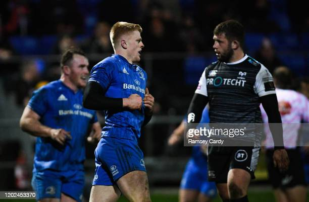 Wales United Kingdom 21 February 2020 Tommy O'Brien of Leinster celebrates after scoring his side's first try during the Guinness PRO14 Round 12...