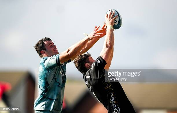 Wales , United Kingdom - 3 October 2021; Ben Carter of Dragons steals a lineout from James Ryan of Leinster during the United Rugby Championship...