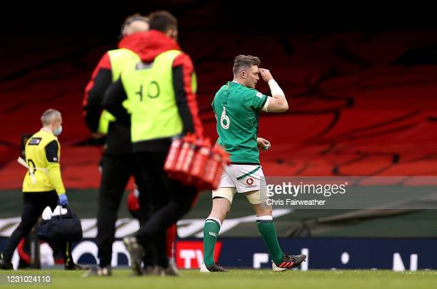 Wales , United Kingdom - 7 February 2021; Peter O'Mahony of Ireland leaves the pitch after being shown a red card during the Guinness Six Nations...