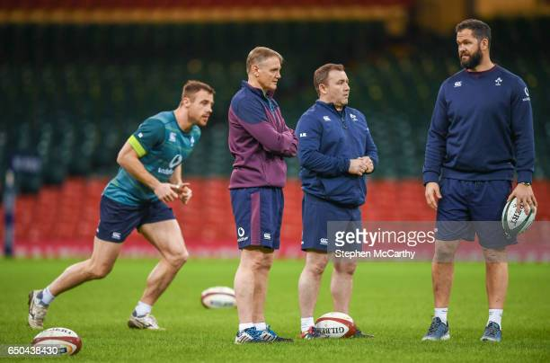 Wales United Kingdom 9 March 2017 Ireland head coach Joe Schmidt with Ireland kicking coach Richie Murphy second from right and Ireland defence coach...