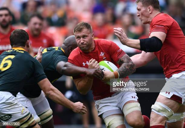 Wales vies for position against South Africa during the friendly Wales v South After Rugby match at RFK Stadium in Washington DC on June 2 2018