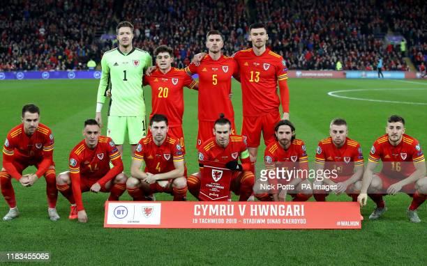 Wales' Wayne Hennessey, Daniel James, Chris Mepham, Kieffer Moore, Aaron Ramsey, Connor Roberts, Ben Davies, Gareth Bale, Joe Allen, Joe Morrell and...