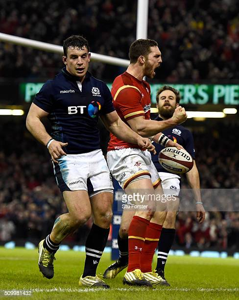 Wales wing George North celebrates his try during the RBS Six Nations match between Wales and Scotland at Principality Stadium on February 13 2016 in...