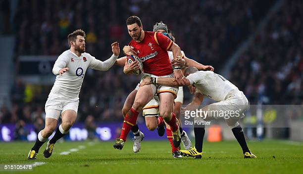 Wales wing George North is wrapped up by Mike Brown and the England defence during the RBS 6 Nations match between England and Wales at Twickenham...