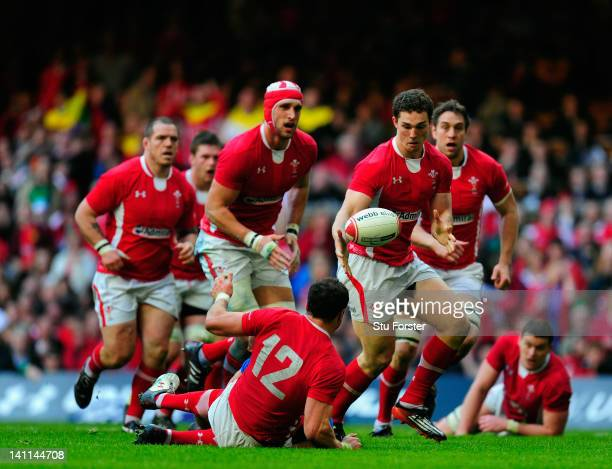 Wales wing George North prepares to run at the Italy defence during the RBS Six Nations match between Wales and Italy at the Millennium stadium on...