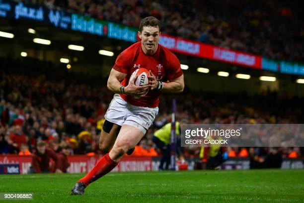 Wales' wing George North runs the ball across the try line but no try is given and the play is pulled back for an infringement during the Six Nations...