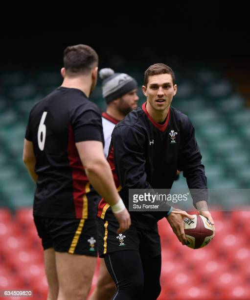 Wales wing George North warms up with team mates ahead of their RBS Six Nations match against England at Principality Stadium on February 10 2017 in...