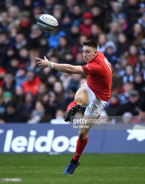 Wales wing Josh Adams clears his lines during the Guinness Six Nations match between Scotland and Wales at Murrayfield on March 09 2019 in Edinburgh...