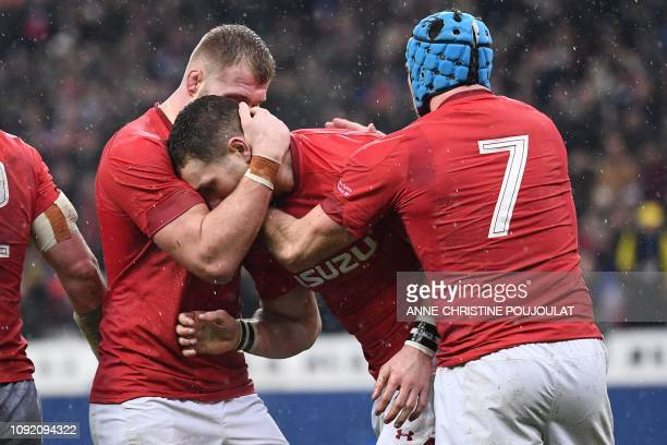 Wales' winger George North celebrates after scroing a try during the Six Nations rugby union tournament match between France and Wales at the stade...