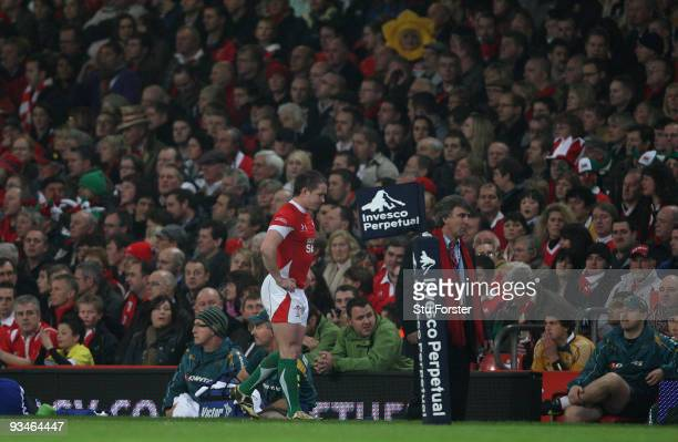Wales winger Shane Williams leaves the pitch with an injury during the Invesco Perpetual match between Wales and Australia at Millennium Stadium on...