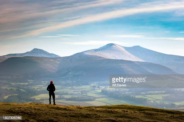 wales winter landscape - hill stock pictures, royalty-free photos & images