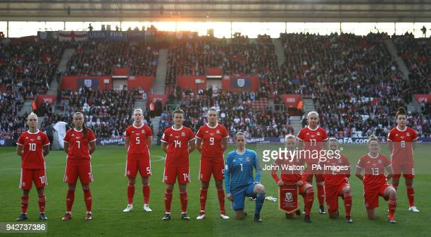 Wales Woman team from left to right Jessica Fishlock Natasha Harding Rhiannon Roberts Hayley Ladd Kayleigh Green goalkeeper Laura O'Sullivan Sophie...