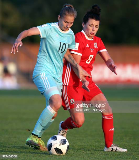 Wales Women's Angharad James and Russia Women's Nadezhda Smirnov battle for the ball during the FIFA Women's World Cup Qualifying Group One match at...