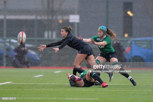 Wales womens Jessica KavanaghWilliams is tackled by Ireland womens Megan Williams during the Rugby Womens Friendly match between Wales Women and...
