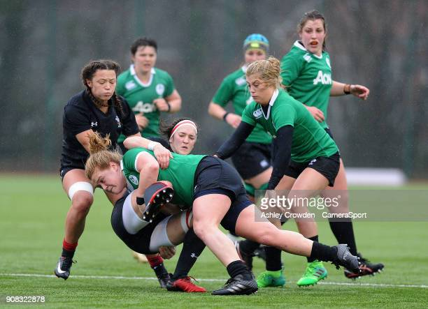 Wales womens Mel Clat is tackled by Ireland womens Chodhna Moloney during the Rugby Womens Friendly match between Wales Women and Ireland Women on...