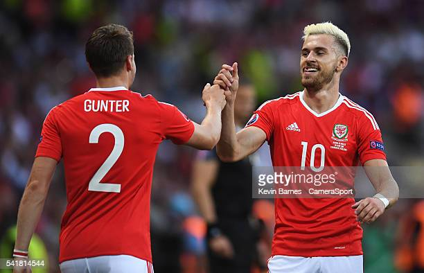 Wales's Aaron Ramsey celebrates scoring his sides first goal with teammate Chris Gunter during the UEFA Euro 2016 Group B match between Russia v...