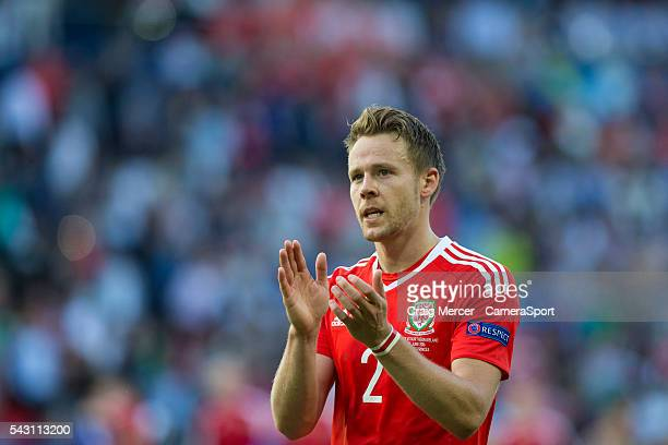 Wales's Chris Gunter applauds the fans at full time during the UEFA Euro 2016 Round of 16 match between Wales and Northern Ireland at Parc des...