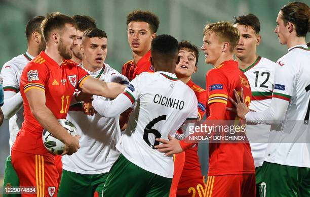 Wales's forward Daniel James argues with Bulgaria's defender Cicinho during the UEFA Nations League Group B4 football match between Bulgaria and...