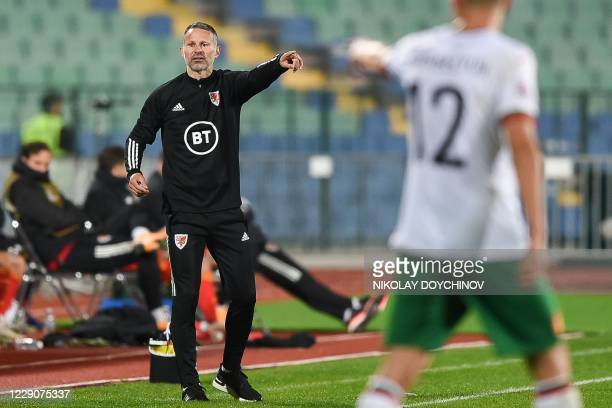 Wales's head coach Ryan Giggs gestures during the UEFA Nations League Group B4 football match between Bulgaria and Wales at Vasil Levski National...