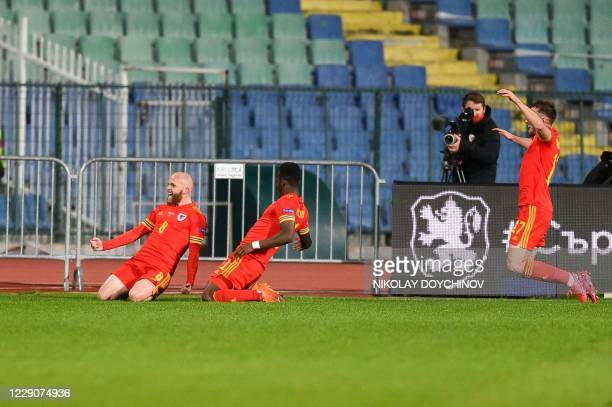 Wales's midfielder Jonny Williams celebrates after scoring during the UEFA Nations League Group B4 football match between Bulgaria and Wales in Sofia...